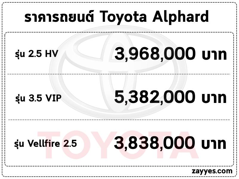 ราคารถยนต์ Toyota Alphard (โตโยต้า อัลพาร์ด)
