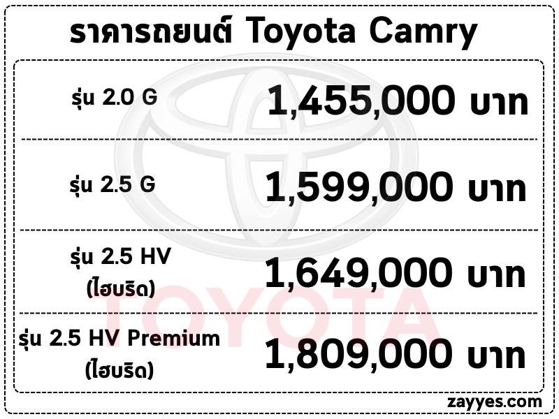 ราคารถยนต์ Toyota Camry (โตโยต้า แคมรี่)