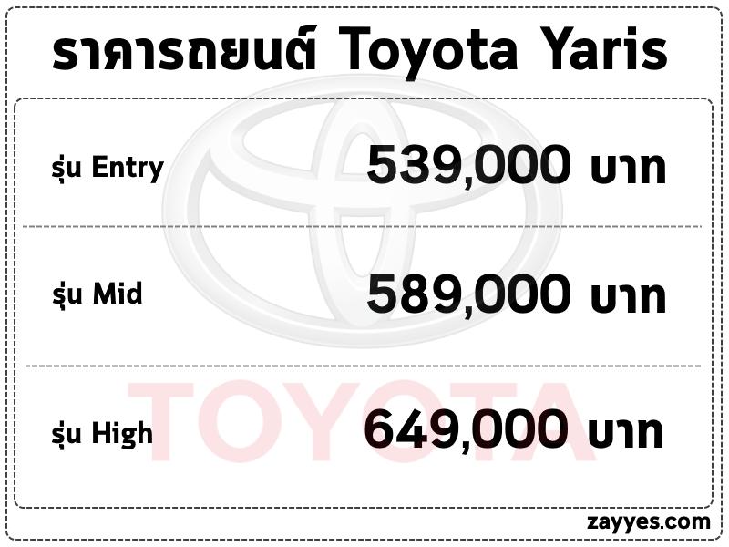 ราคารถยนต์ Toyota Yaris (โตโยต้า ยาริส)