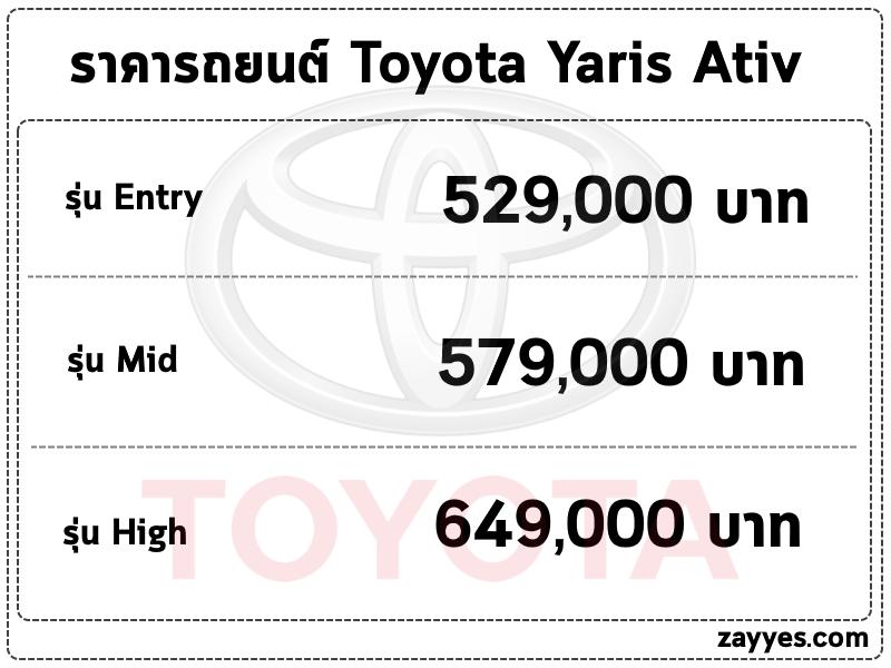 ราคารถยนต์ Toyota Yaris Ativ (โตโยต้า ยาริส เอทีฟ)